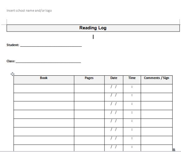 Reading Log Template | Reading Log Template Fearas Scoile